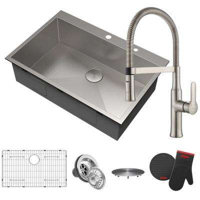 Pax All-in-One Drop-In Stainless Steel 33 in. 2-Hole Single Bowl Kitchen Sink with Commercial Faucet in Stainless Steel