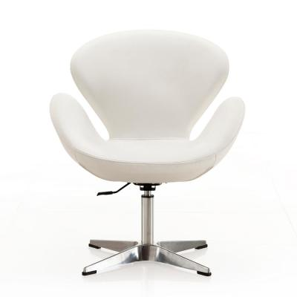 White Leatherette Raspberry Adjustable Swivel Chair