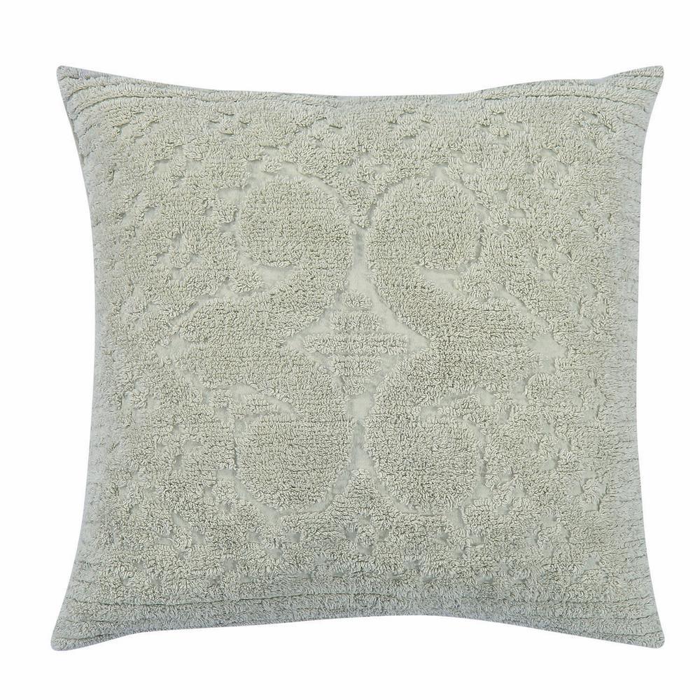 Ashton Collection in Medallion Design Sage Euro 100% Cotton Tufted Chenille Sham