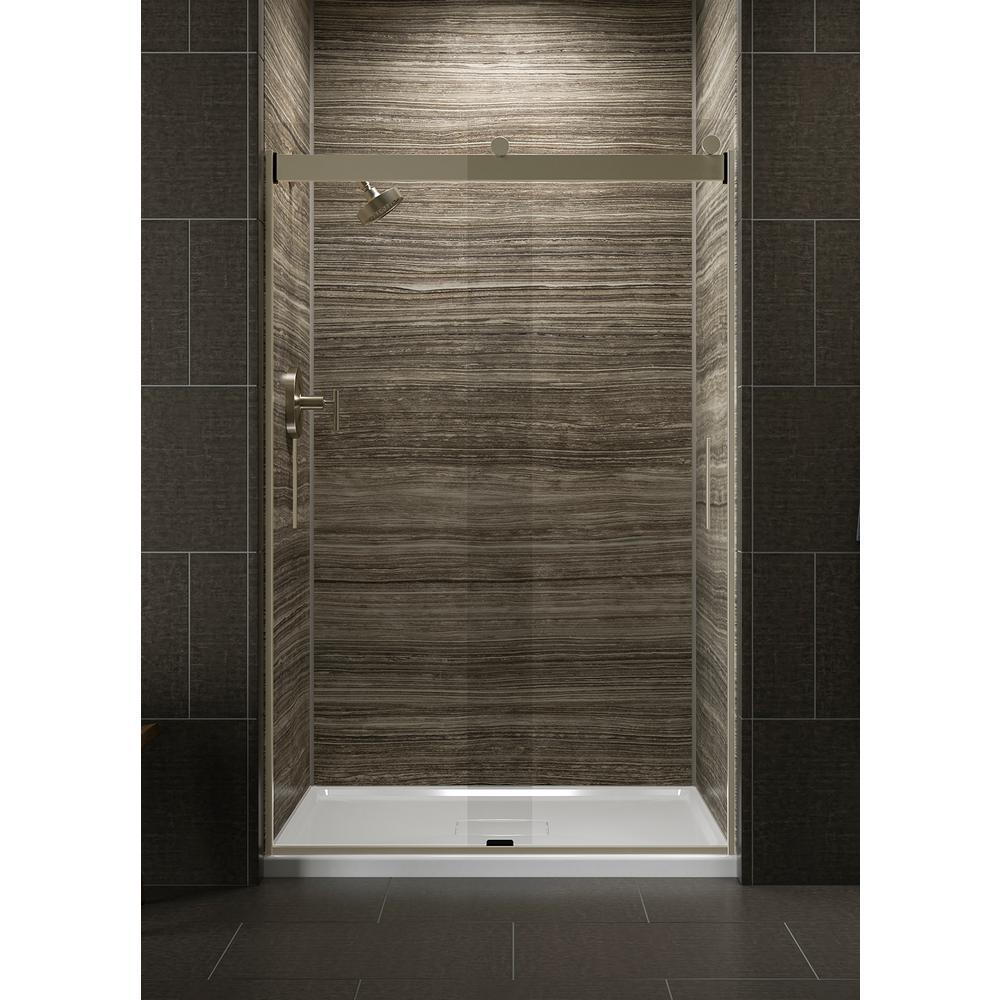 Levity 48 in. x 74 in. Semi-Frameless Sliding Shower Door in Bronze with Handle