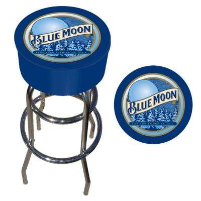 Blue Moon 31 in. Chrome Swivel Cushioned Bar Stool