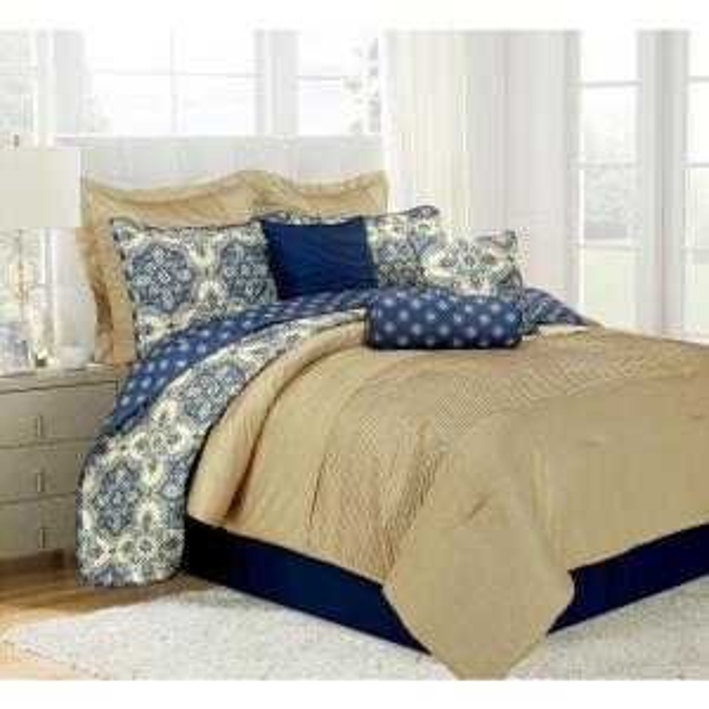 Patina Blue King Microfiber 10-Piece Comforter Set by