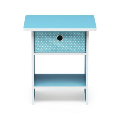 Home Living Light Blue/Light Blue End Table/Night Stand Storage Shelf with Bin Drawer