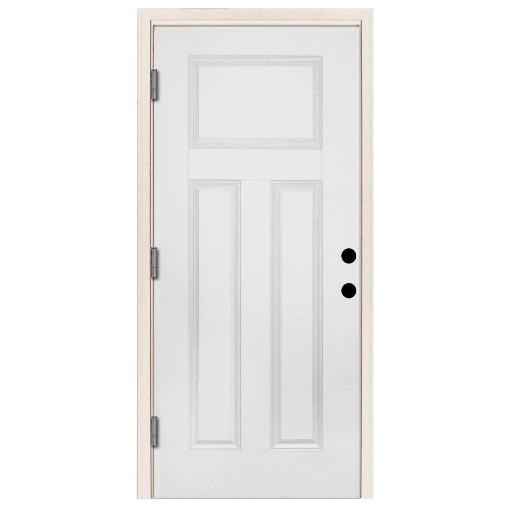 Steves Sons 36 In X 80 In Premium 3 Panel Primed White Steel Prehung Front Door With 36 In