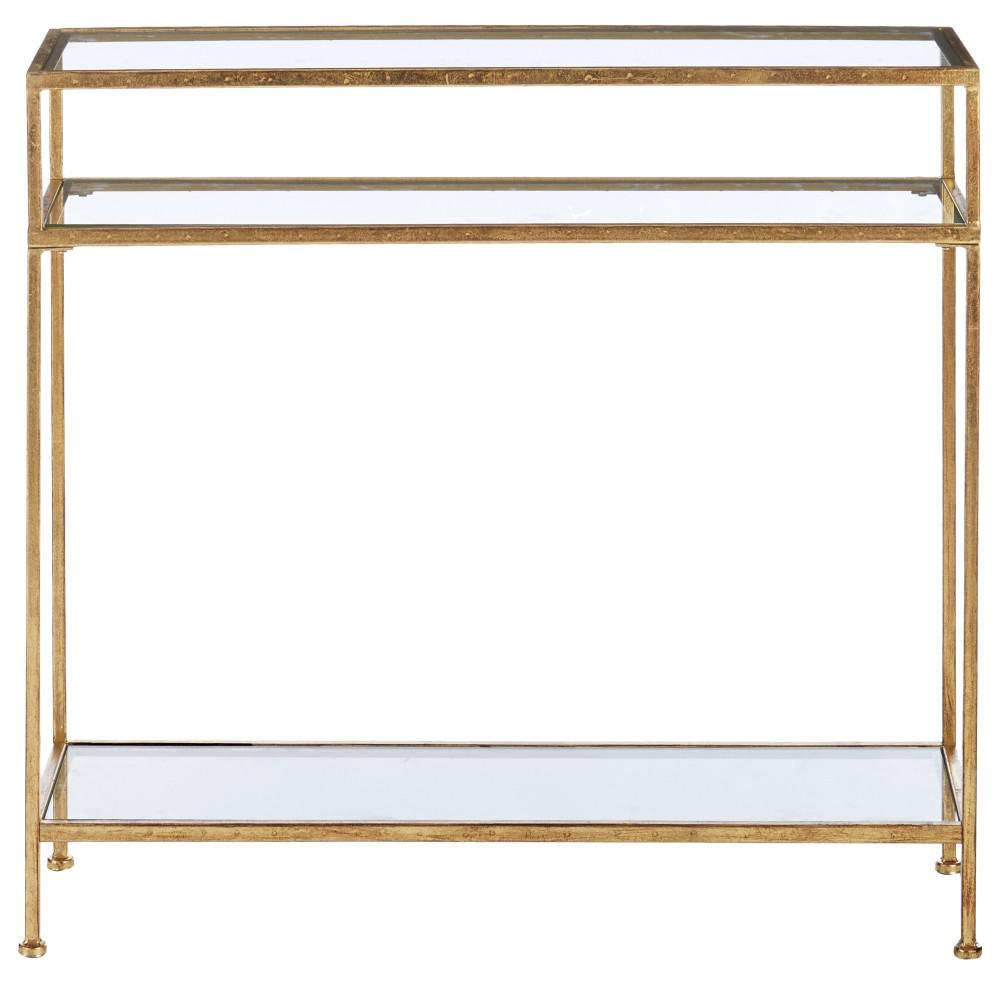 Home Decorators Collection Bella Aged Gold Narrow Gl Console Table