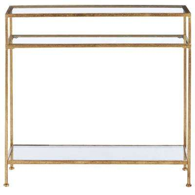 Bella Aged Gold Narrow Glass Console Table