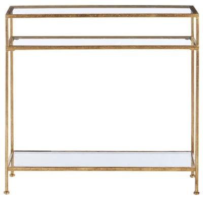 Bella Rectangular Gold Leaf Metal and Glass Console Table (42.5 in. W x 30 in. H)