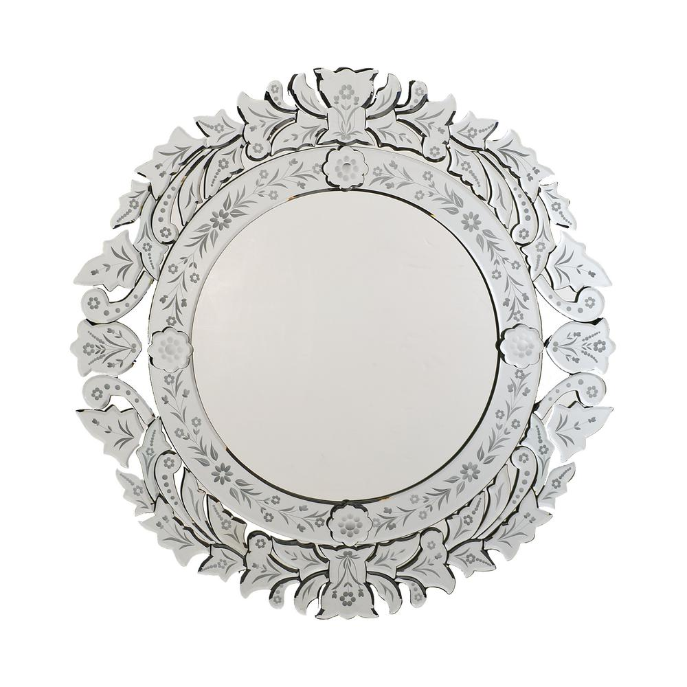 Afina Radiance Venetian 33 In X 33 In Framed Round Contemporary Cut Glass Wall Mirror In Clear Rm 102 The Home Depot