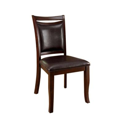 Transitional Expresso Side Chair With Padded Back and Seat (Set of 2)