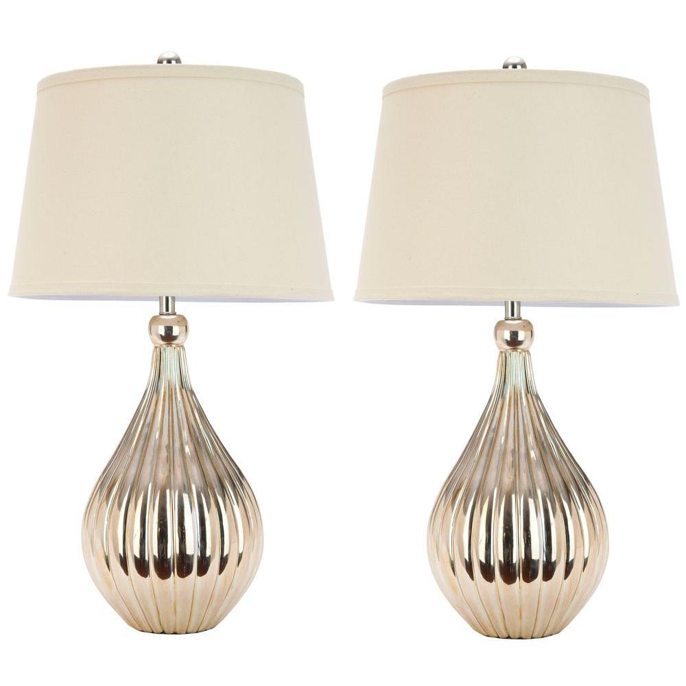 Safavieh Elli 27.5 In. White Linen Hard Back Gourd Lamp (Set Of  2) LIT4012A SET2   The Home Depot