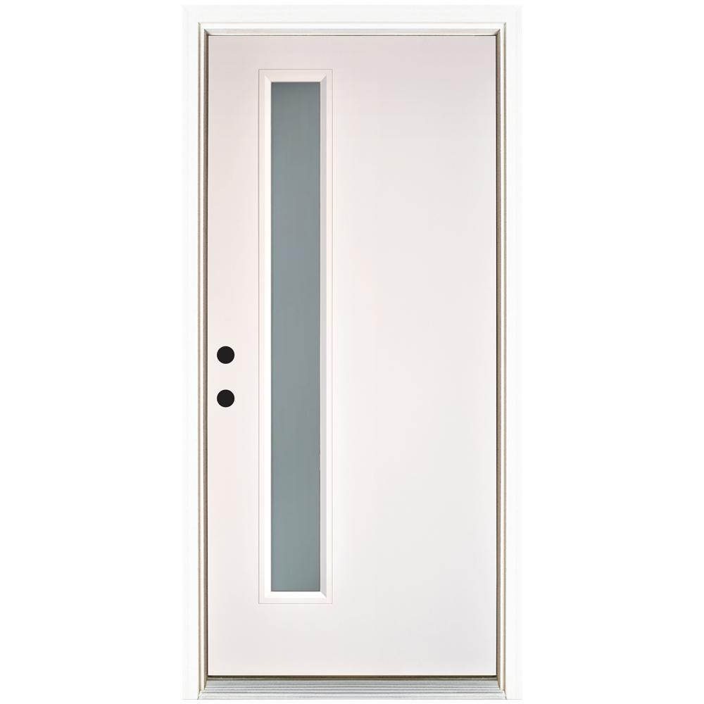 Attractive MP Doors 36 In. X 80 In. Transclear Modern Narrow Lite Smooth White Right