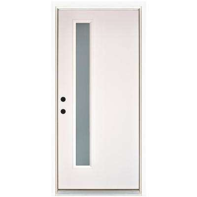 36 in. x 80 in. Smooth White Right-Hand Inswing Narrow 1-Lite Frosted Fiberglass Prehung Front Door