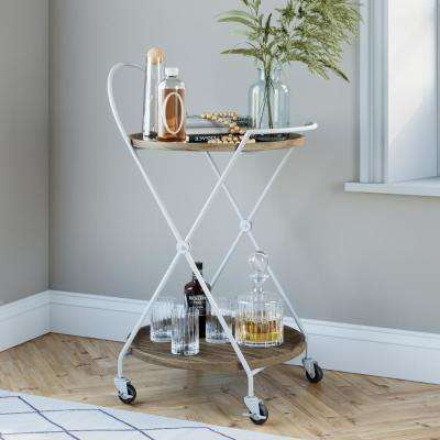 Sage 2-Tier Beige Tray and White Metal Round Mid-Century Rolling Bar or Serving Cart