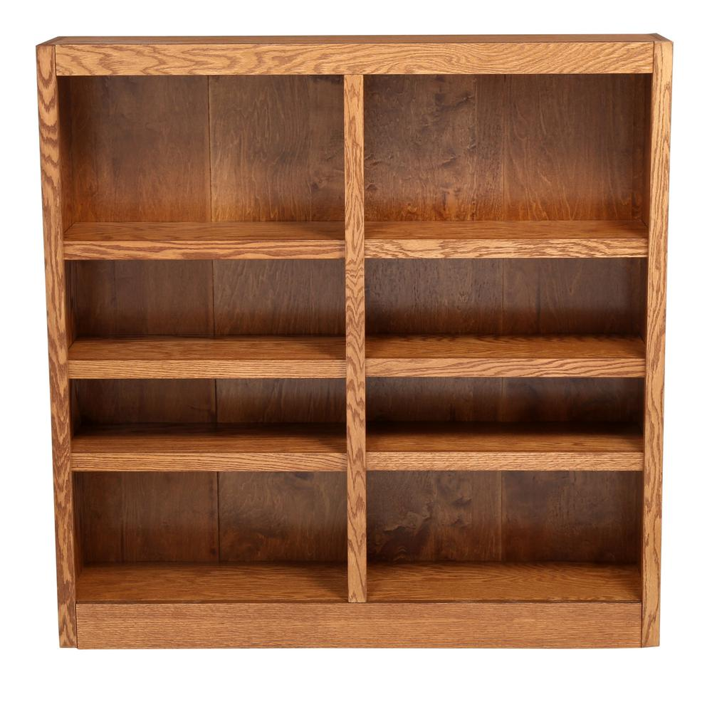 Concepts In Wood Midas Double Wide 8-Shelf Bookcase in Dry Oak