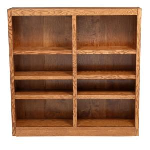 Midas Double Wide 8-Shelf Bookcase in Dry Oak