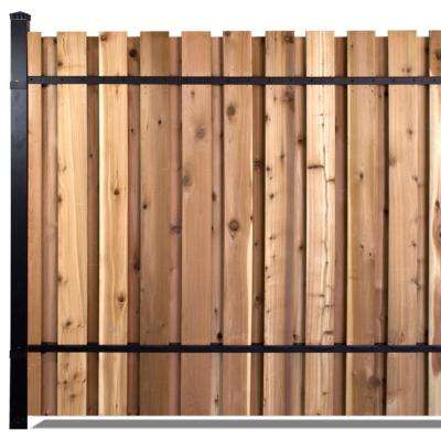 6 ft. x 8 ft. Black Aluminum End Post Fence Panel Kit with 9 ft. Post