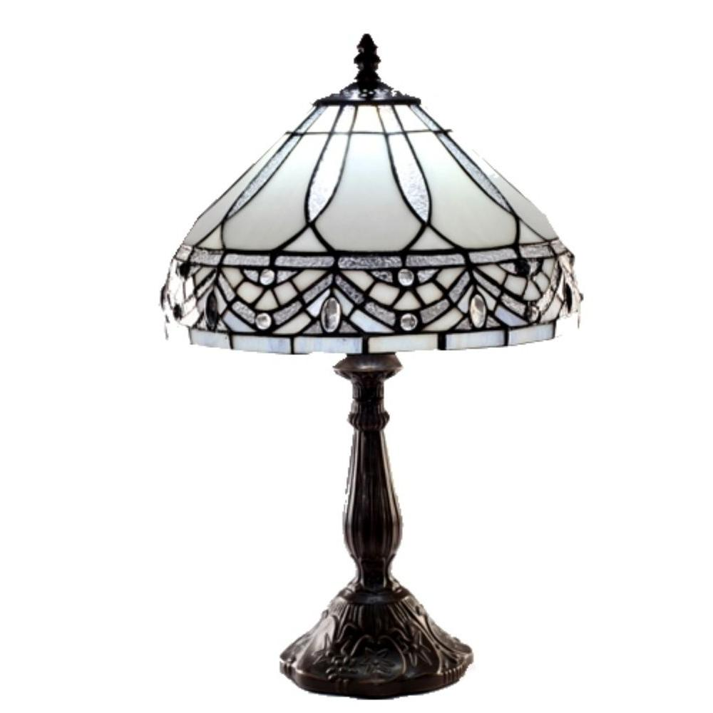 Warehouse Of Tiffany White Jewels 19 In. Bronze Stained Glass Table Lamp