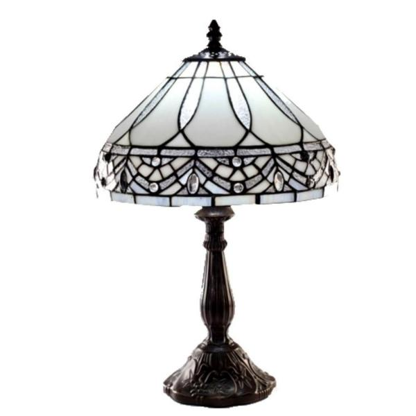 White Jewels 19 in. Bronze Stained Glass Table Lamp
