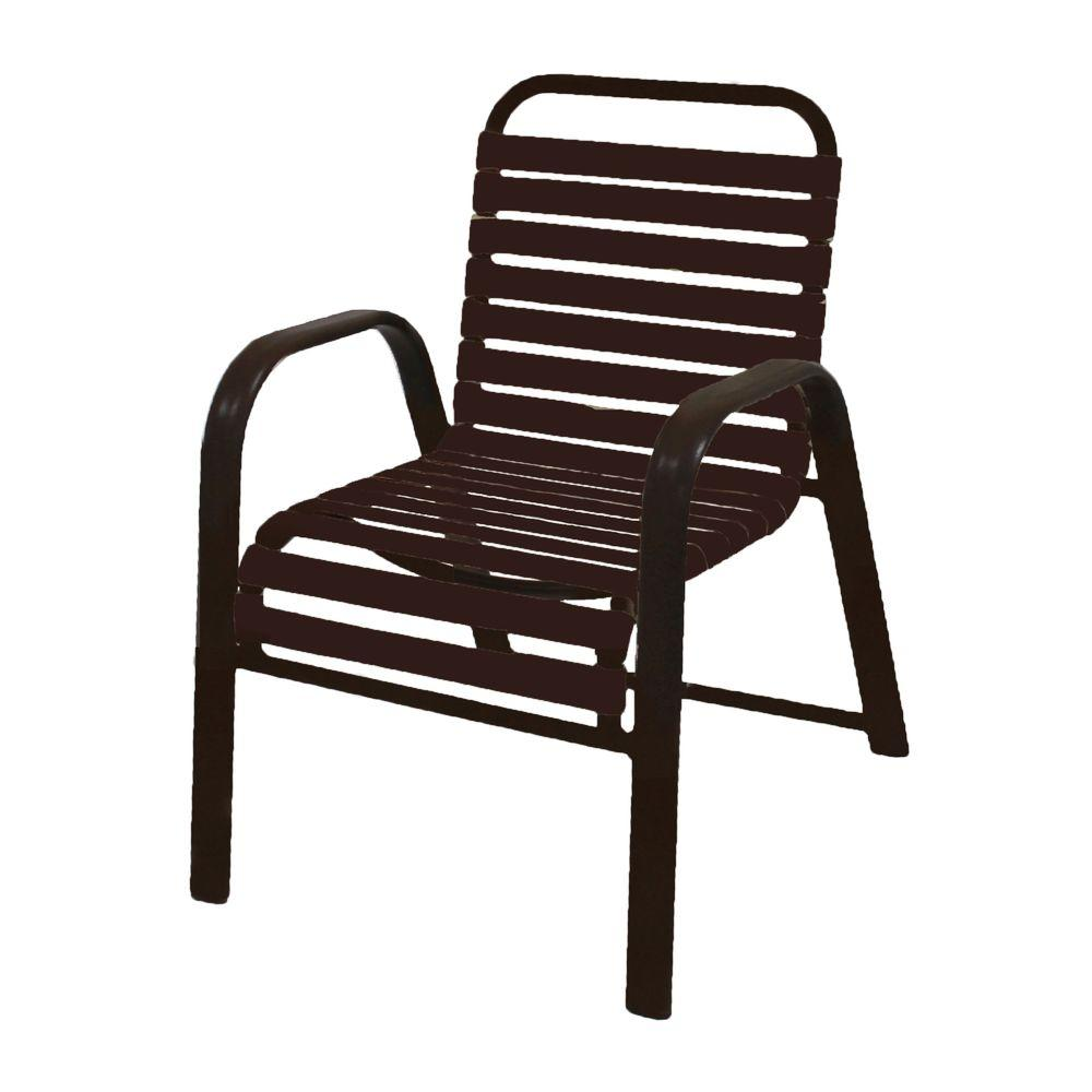 Marco Island Dark Cafe Brown Commercial Grade Aluminum Patio Dining Chair With Leisure Vinyl Straps 2 Pack