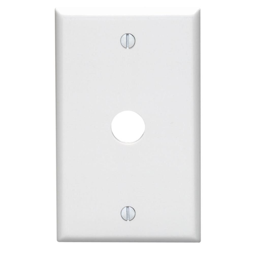 1-Gang 0.625 in. Hole Device Telephone/Cable Wall Plate, White