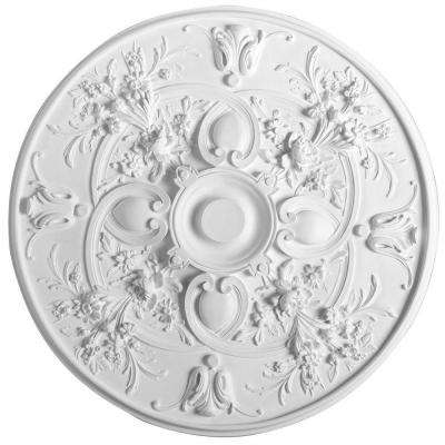 European Collection 31-1/8 in. x 1-9/16 in. Floral Polyurethane Ceiling Medallion