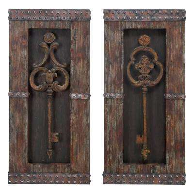 14 in. x 30 in. Rusted Iron Vintage Keys Wall Decors (Set of 2)