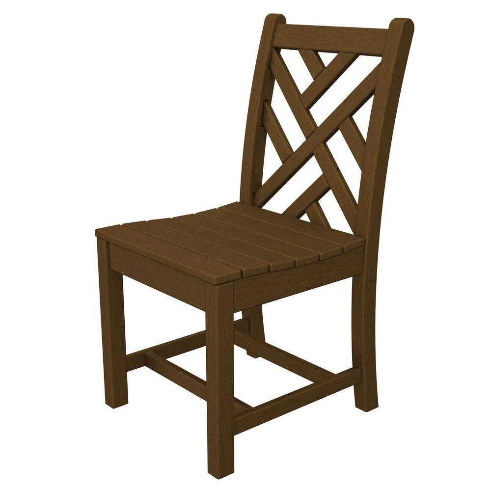 polywood chippendale teak all weather plastic outdoor dining side chair cdd100te the home depot. Black Bedroom Furniture Sets. Home Design Ideas