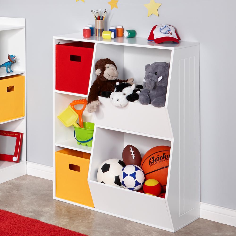 RiverRidge Kids 3 Cubby, 2 Veggie Bin Floor Cabinet In White