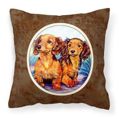 14 in. x 14 in. Multi-Color Lumbar Outdoor Throw Pillow Long Hair Red Dachshund Two Peas