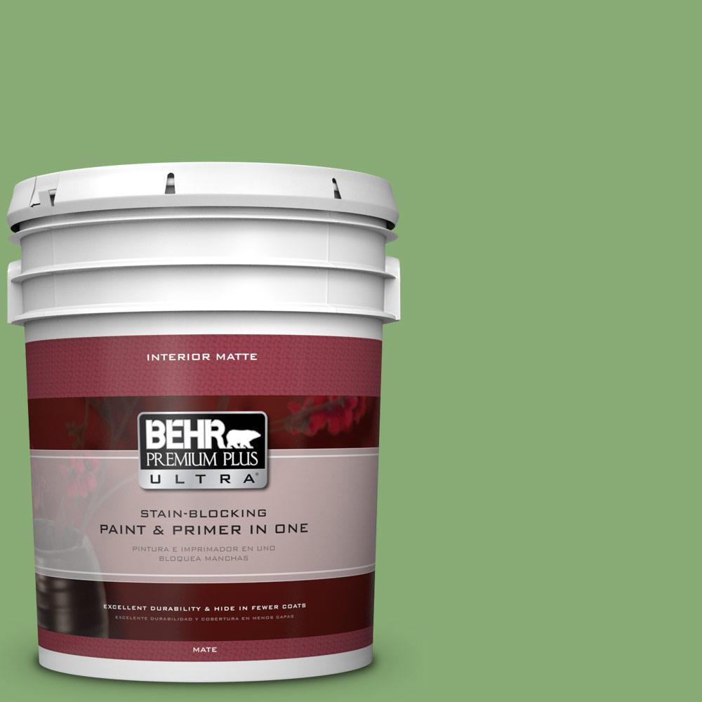 BEHR Premium Plus Ultra 5 gal. #440D-5 Pesto Flat/Matte Interior Paint