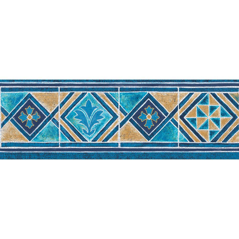 The Wallpaper Company 6.8 in. x 15 ft. Blue and Tan Moroccan Tile Border-DISCONTINUED