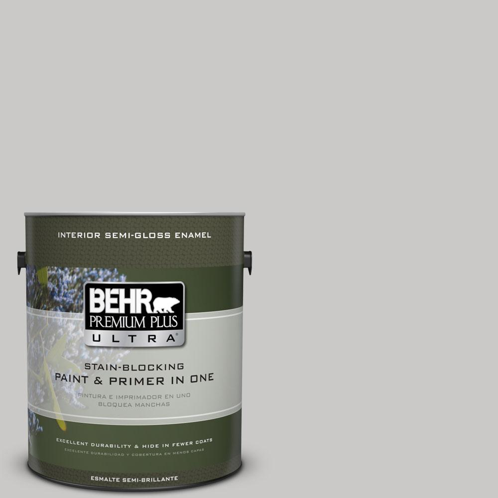 BEHR Premium Plus Ultra 1-gal. #790E-2 Gentle Rain Semi-Gloss Enamel Interior Paint