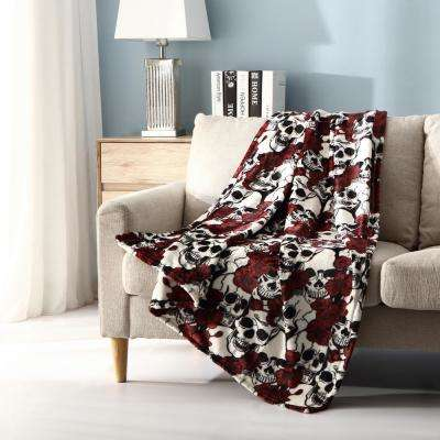 Morgan Home Botanical Skulls Plush Throw Blanket