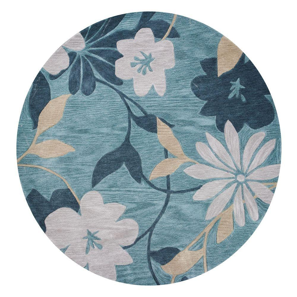 Kas Rugs Water Flowers Blue 5 ft. 6 in. x 5 ft. 6 in. Round Area Rug