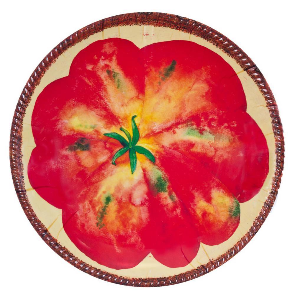 Verdura Red/Cream Melamine Tomato Shallow Bowl