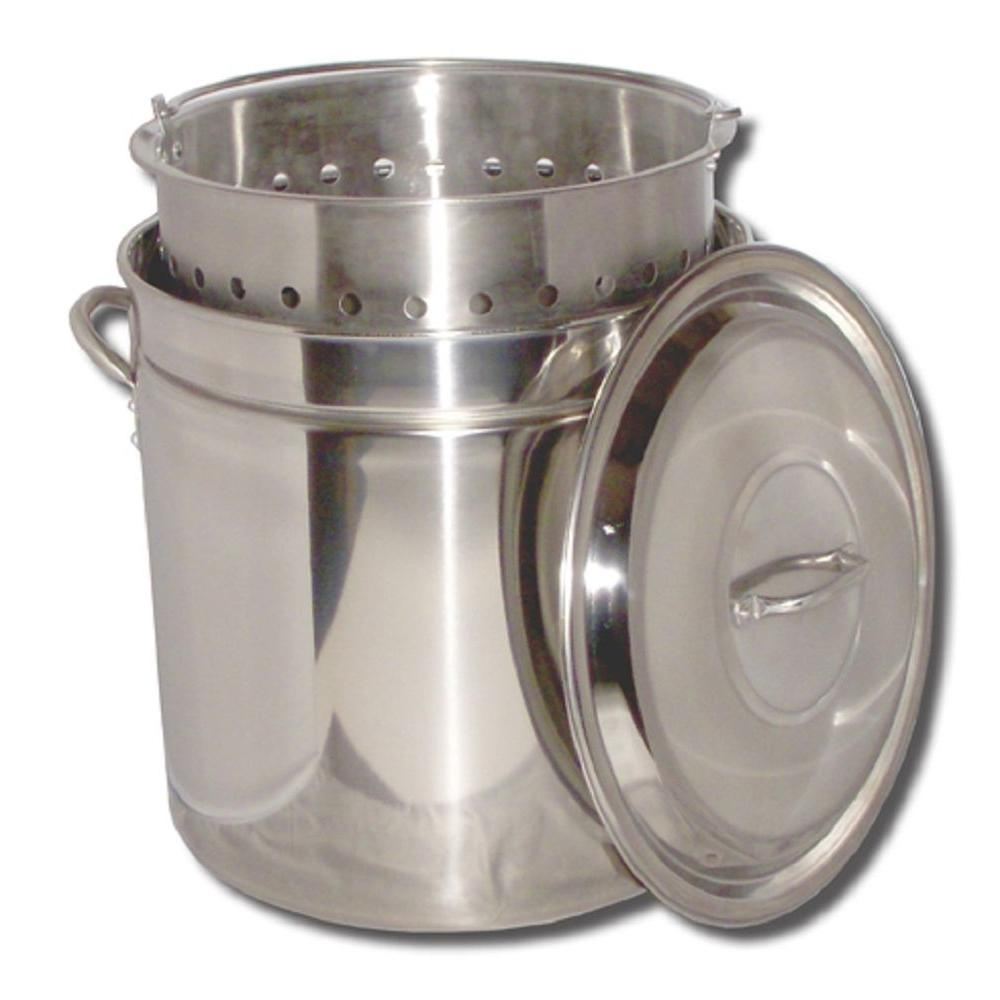 King Kooker 24 qt. Stainless Steel Stock Pot with Basket and Steam Rim