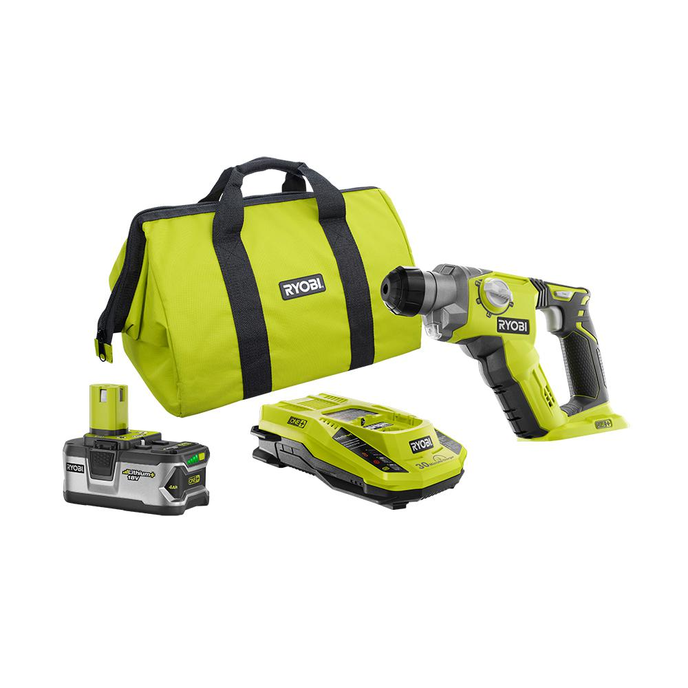 RYOBI 18-Volt ONE+ Lithium-Ion Cordless 1/2 in. SDS-Plus Rotary Hammer Drill Kit with 4.0 Ah LITHIUM+ Battery and Charger