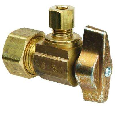 1/2 in. Nominal Compression Inlet x 1/4 in. O.D. Compression Outlet Brass 1/4-Turn Angle Ball Valve (5-Pack)