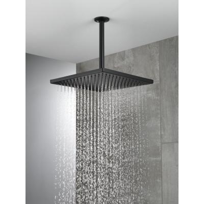 1-Spray 11.8 in. Single Wall Mount Square Fixed Rain Shower Head in Matte Black