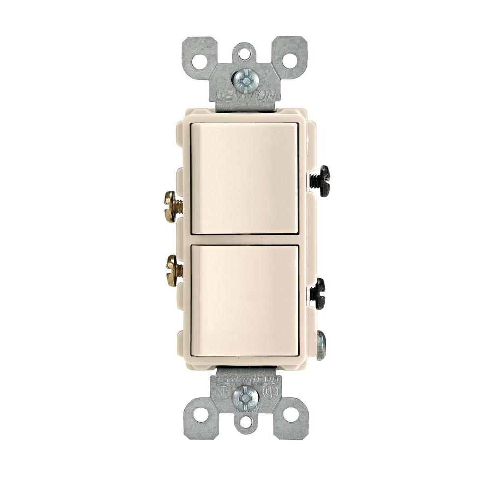Leviton Decora 15 Amp Single-Pole Dual Switch, Light Almond-R66 ...