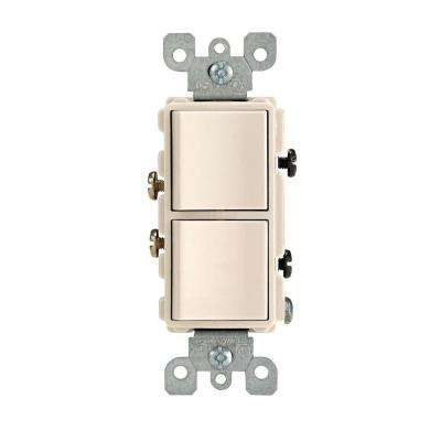 Decora 15 Amp Single-Pole Dual Switch, Light Almond