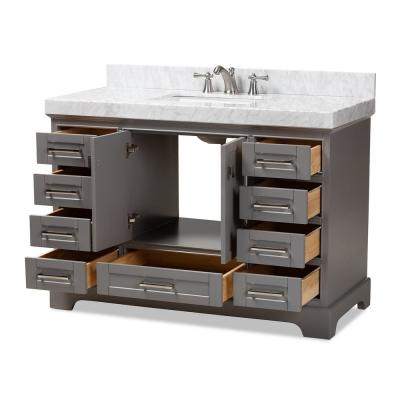 Amaris 48 in. W x 34.7 in. H Bath Vanity in Gray with Vanity Top in White with High Gloss White Basin