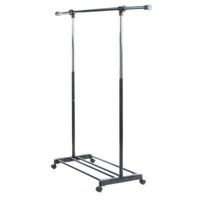 Black and Chrome Collection 36.25 in. x 68 in. Deluxe Adjustable Garment Rack