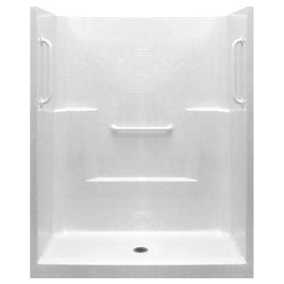 Ultimate-W 33 in. x 60 in. x 77 in. 1-Piece Low Threshold Shower Stall in White with White Grab Bars and Center Drain