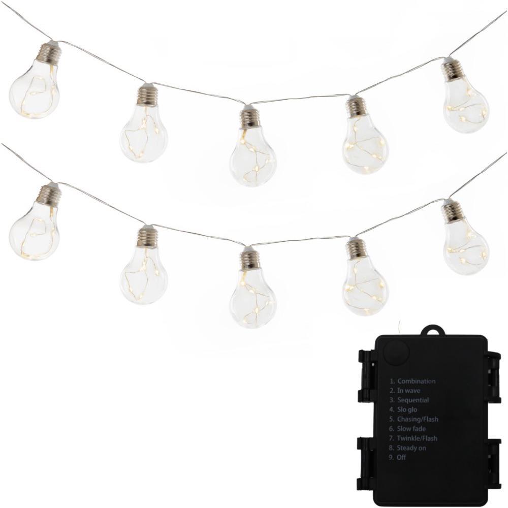 Wireless 10-Light 9 ft. Integrated LED Edison Bulb String Light