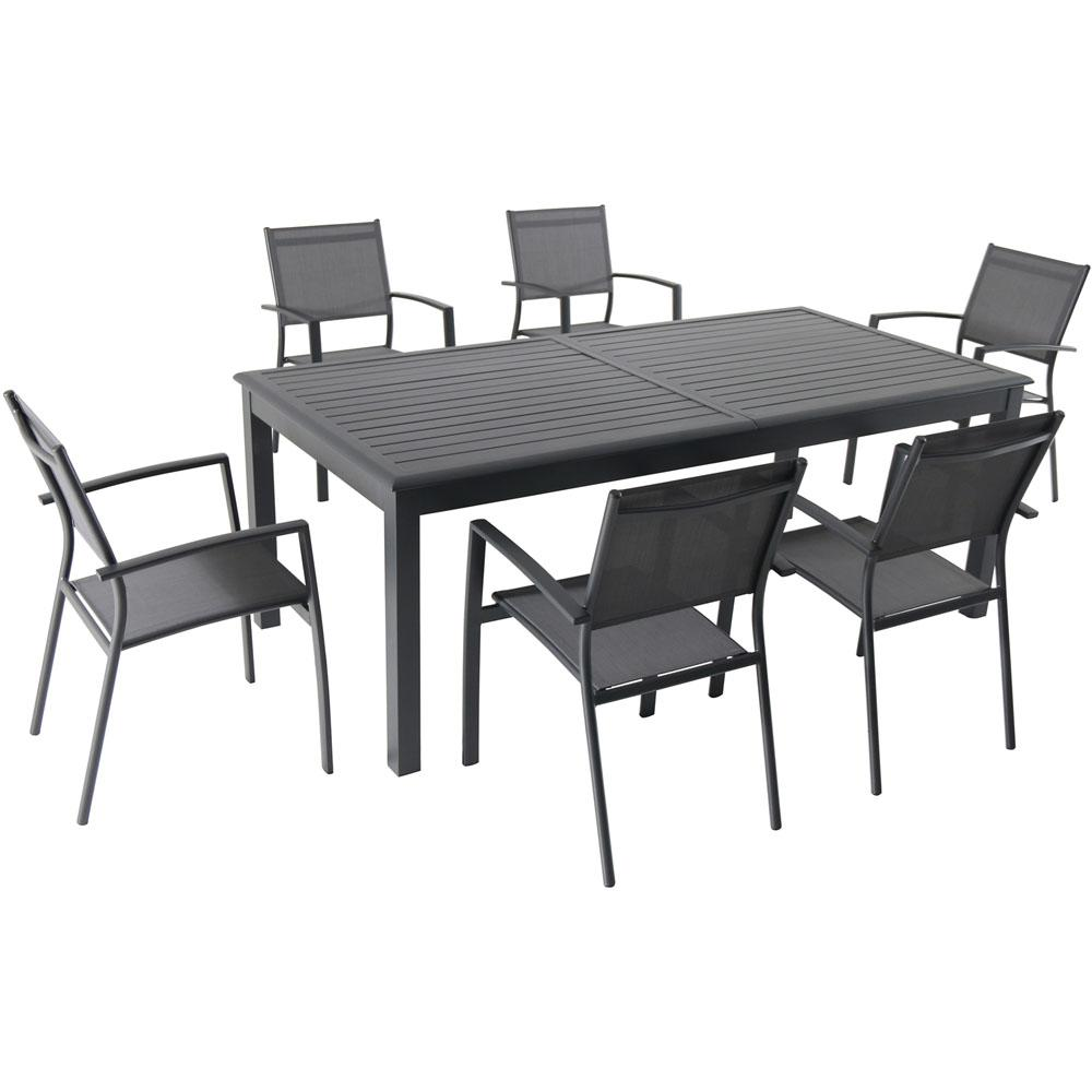 Hanover Dawson 7-Piece Aluminum Outdoor Dining Set with 6-Sling Chairs and  an Expandable 40 in. x 118 in. Table