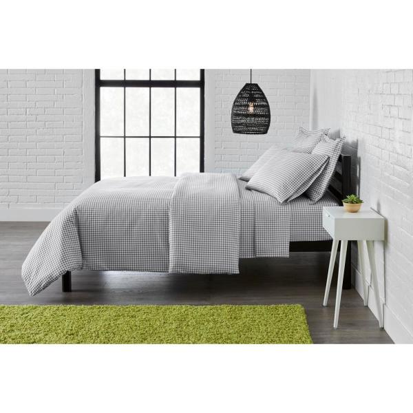 StyleWell Brushed Microfiber 3-Piece King Duvet Cover Set in Gray Gingham