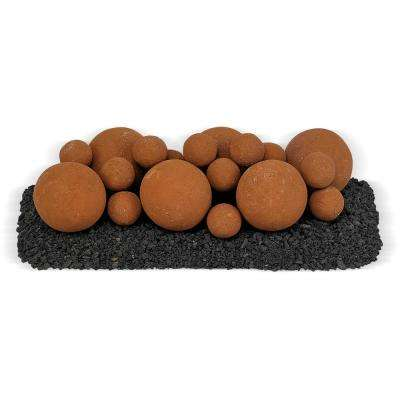18 in. x 6 in. Mesa Red Mixed Set, 6-4 in. Lite Stone Balls, 14-2 in. Lite Stone Balls with 5 lbs. Small Lava Rock