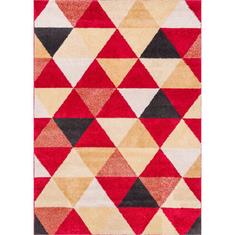 Mystic Alvin Modern Geometric Red 5 ft. 3 in. x 7