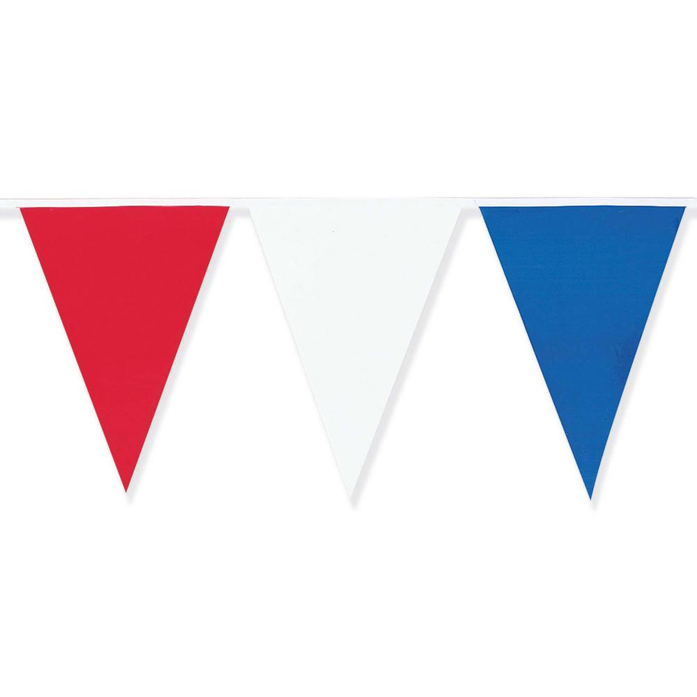 Beautiful Amscan 18 in. x 120 ft. Red, White and Blue Pennant Flag Banner  RN07